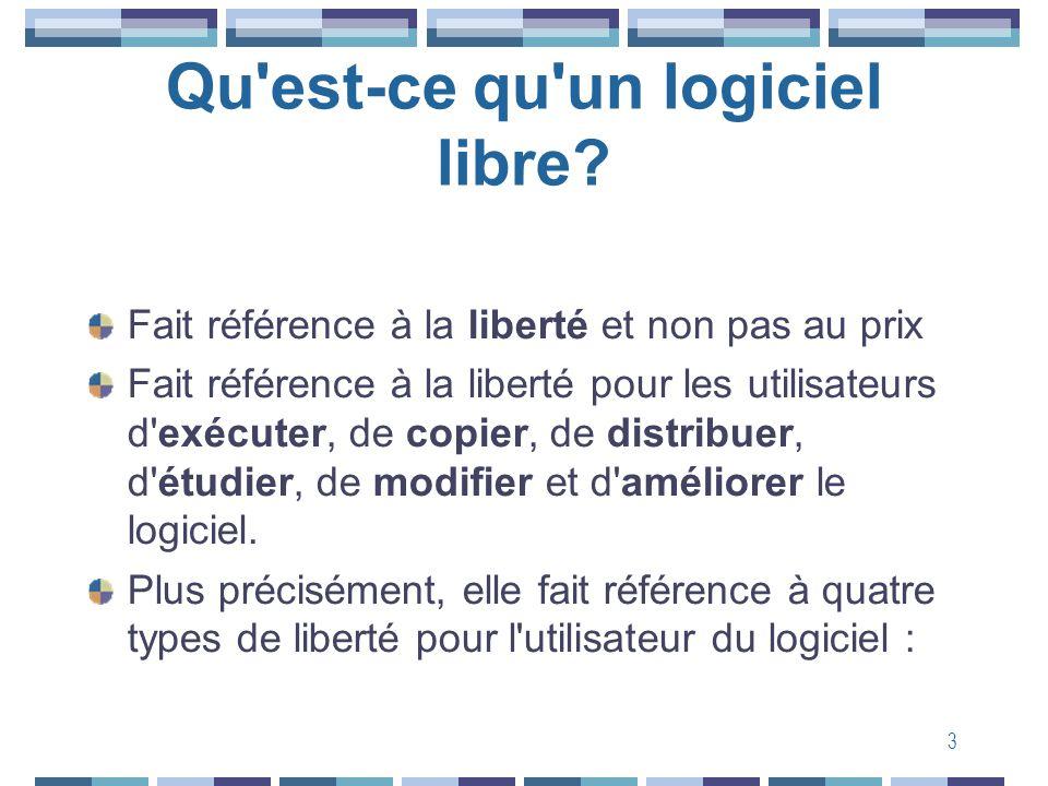 3 Qu'est-ce qu'un logiciel libre? Fait référence à la liberté et non pas au prix Fait référence à la liberté pour les utilisateurs d'exécuter, de copi