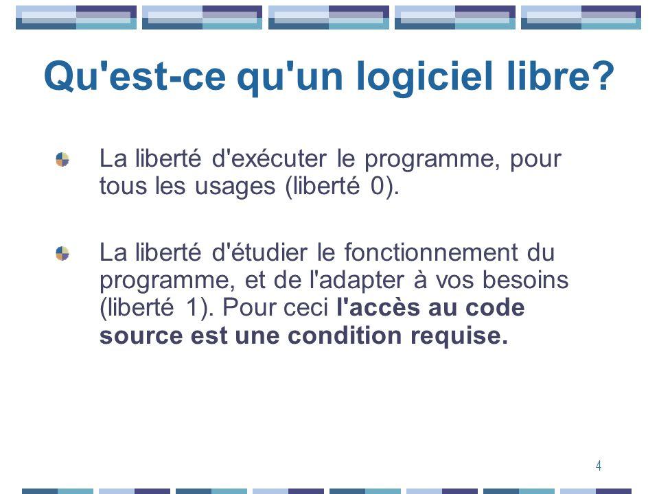 4 Qu'est-ce qu'un logiciel libre? La liberté d'exécuter le programme, pour tous les usages (liberté 0). La liberté d'étudier le fonctionnement du prog