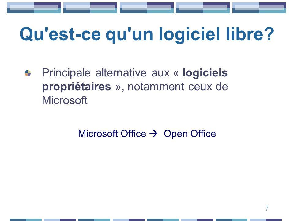 7 Qu'est-ce qu'un logiciel libre? Principale alternative aux « logiciels propriétaires », notamment ceux de Microsoft Microsoft Office Open Office
