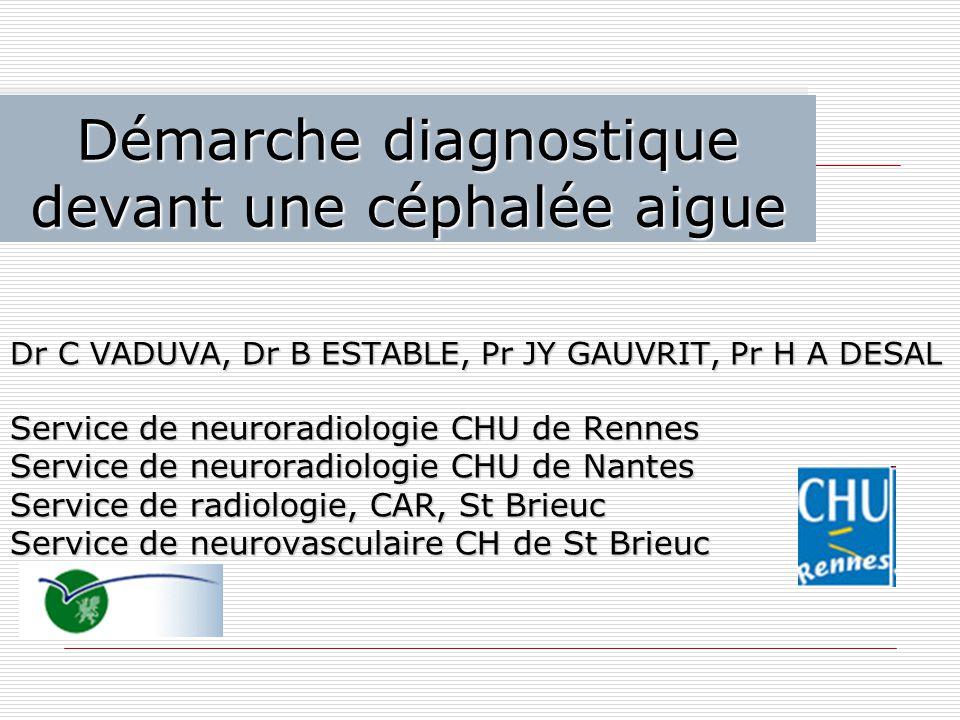 Démarche diagnostique devant une céphalée aigue Dr C VADUVA, Dr B ESTABLE, Pr JY GAUVRIT, Pr H A DESAL Service de neuroradiologie CHU de Rennes Servic