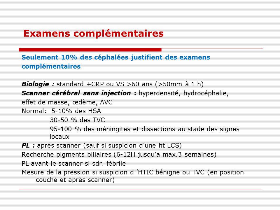 Examens complémentaires Seulement 10% des céphalées justifient des examens complémentaires Biologie : standard +CRP ou VS >60 ans (>50mm à 1 h) Scanne