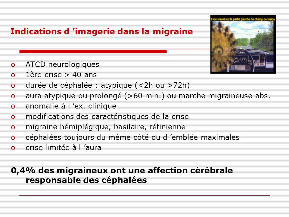 Indications d imagerie dans la migraine oATCD neurologiques o1ère crise > 40 ans odurée de céphalée : atypique ( 72h) oaura atypique ou prolongé (>60