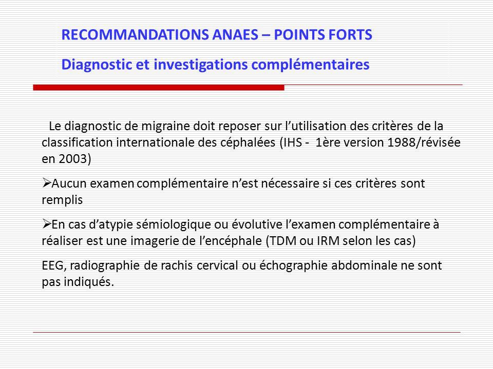 RECOMMANDATIONS ANAES – POINTS FORTS Diagnostic et investigations complémentaires - Le diagnostic de migraine doit reposer sur lutilisation des critèr