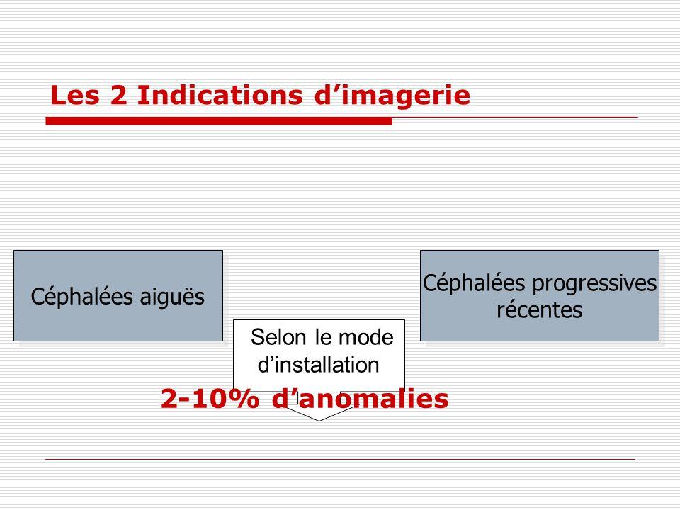 Les 2 Indications dimagerie Selon le mode dinstallation Céphalées aiguës Céphalées progressives récentes Céphalées progressives récentes 2-10% danomal