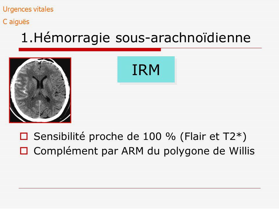 1.Hémorragie sous-arachnoïdienne Sensibilité proche de 100 % (Flair et T2*) Complément par ARM du polygone de Willis IRM Urgences vitales C aiguës