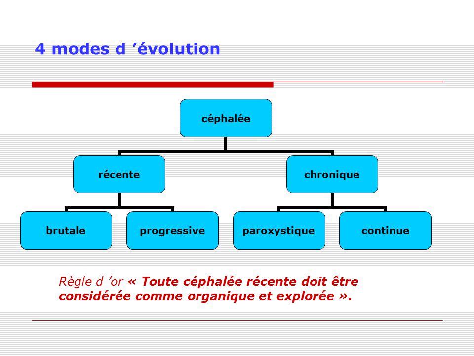 4 modes d évolution céphalée récente brutaleprogressive chronique paroxystiquecontinue Règle d or « Toute céphalée récente doit être considérée comme