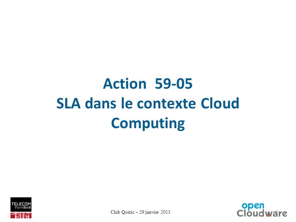 Club Qostic – 29 janvier 2013 Action 59-05 SLA dans le contexte Cloud Computing 1
