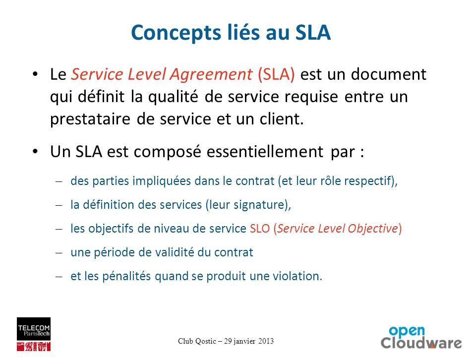 Club Qostic – 29 janvier 2013 Concepts liés au SLA Le Service Level Agreement (SLA) est un document qui définit la qualité de service requise entre un prestataire de service et un client.