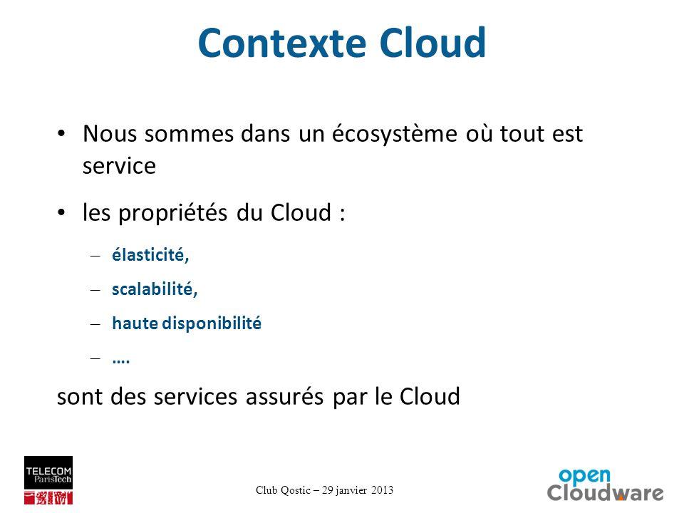 Club Qostic – 29 janvier 2013 Contexte Cloud Nous sommes dans un écosystème où tout est service les propriétés du Cloud : – élasticité, – scalabilité, – haute disponibilité – ….