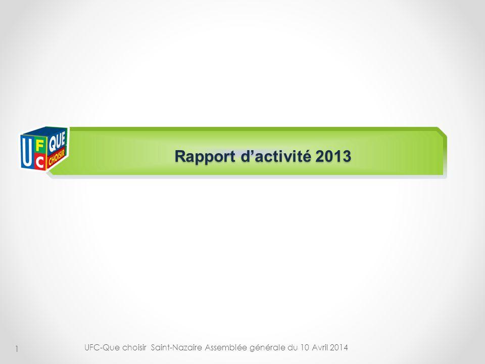 1 Rapport dactivité 2013 UFC-Que choisir Saint-Nazaire Assemblée générale du 10 Avril 2014