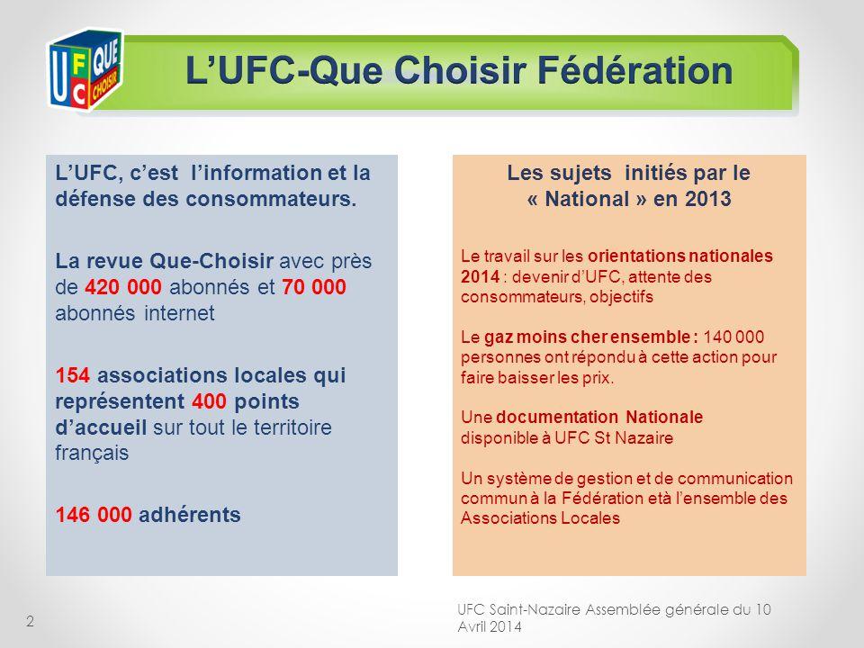 2 LUFC, cest linformation et la défense des consommateurs. La revue Que-Choisir avec près de 420 000 abonnés et 70 000 abonnés internet 154 associatio