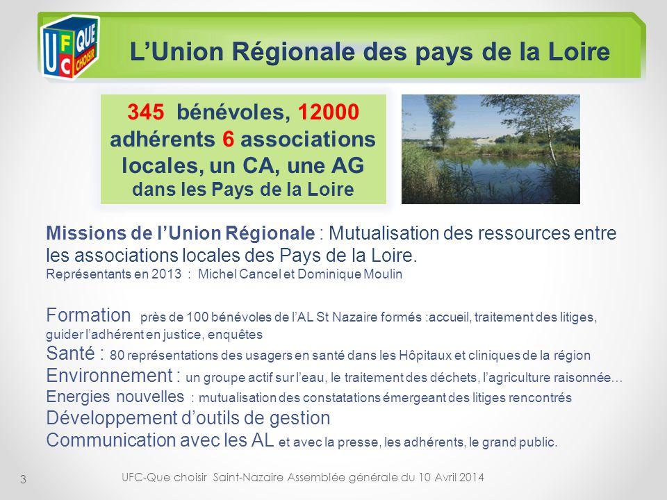 3 345 bénévoles, 12000 adhérents 6 associations locales, un CA, une AG dans les Pays de la Loire Missions de lUnion Régionale : Mutualisation des ress