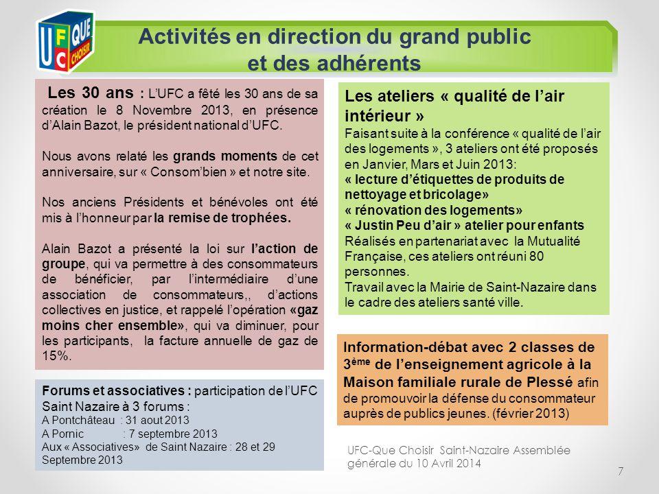 7 Activités en direction du grand public et des adhérents Les 30 ans : LUFC a fêté les 30 ans de sa création le 8 Novembre 2013, en présence dAlain Ba