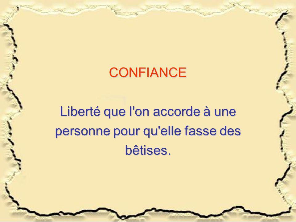 CONFIANCE Liberté que l'on accorde à une personne pour qu'elle fasse des bêtises.