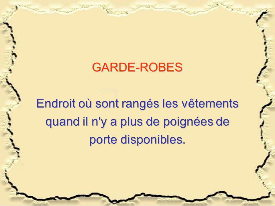 GARDE-ROBES Endroit où sont rangés les vêtements quand il n'y a plus de poignées de porte disponibles.