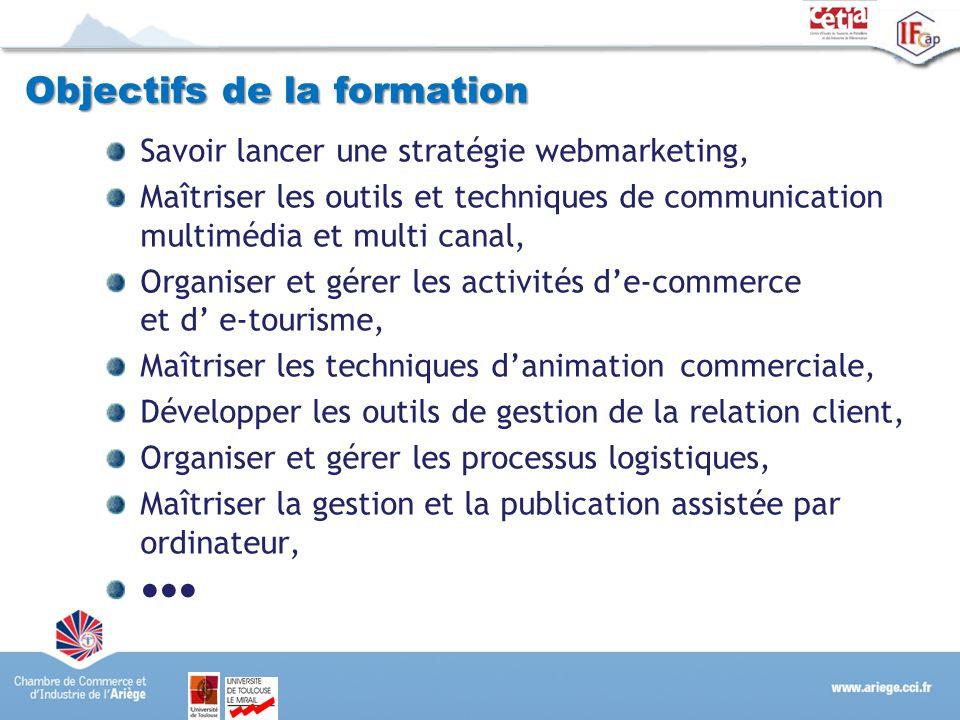 Objectifs de la formation Savoir lancer une stratégie webmarketing, Maîtriser les outils et techniques de communication multimédia et multi canal, Org