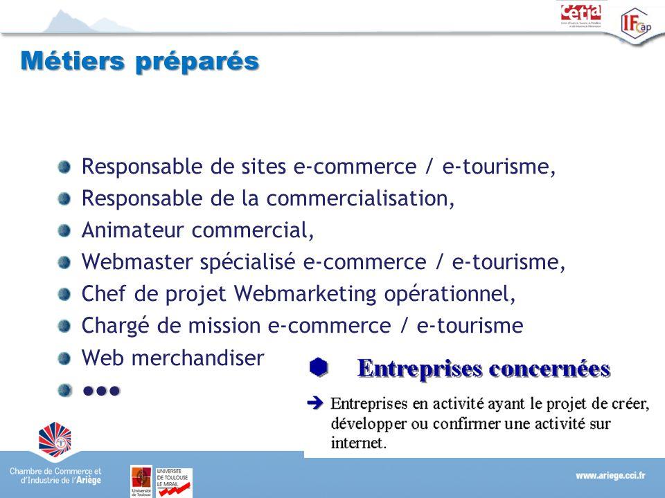 Métiers préparés Responsable de sites e-commerce / e-tourisme, Responsable de la commercialisation, Animateur commercial, Webmaster spécialisé e-comme