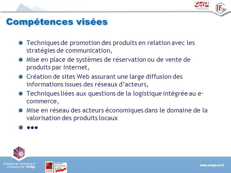 Compétences visées Techniques de promotion des produits en relation avec les stratégies de communication, Mise en place de systèmes de réservation ou