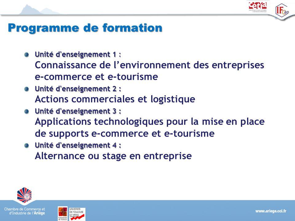 Programme de formation Unité d'enseignement 1 : Unité d'enseignement 1 : Connaissance de lenvironnement des entreprises e-commerce et e-tourisme Unité