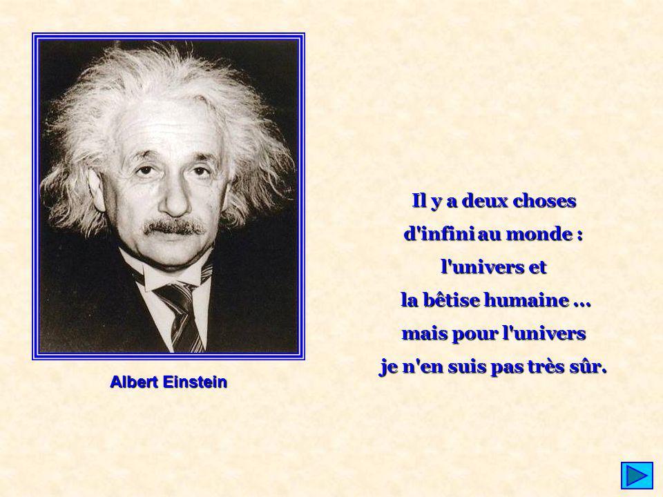 Il y a deux choses d'infini au monde : l'univers et la bêtise humaine... mais pour l'univers je n'en suis pas très sûr. Albert Einstein
