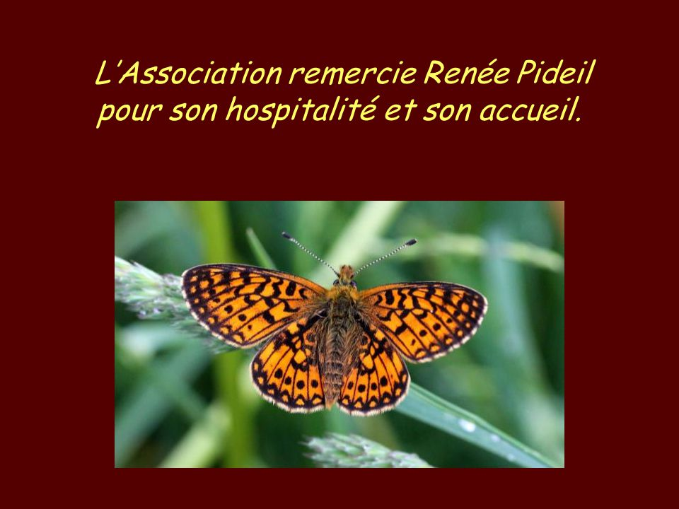 LAssociation remercie Renée Pideil pour son hospitalité et son accueil.