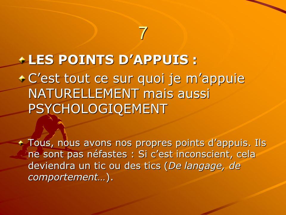 7 LES POINTS DAPPUIS : Cest tout ce sur quoi je mappuie NATURELLEMENT mais aussi PSYCHOLOGIQEMENT Tous, nous avons nos propres points dappuis. Ils ne