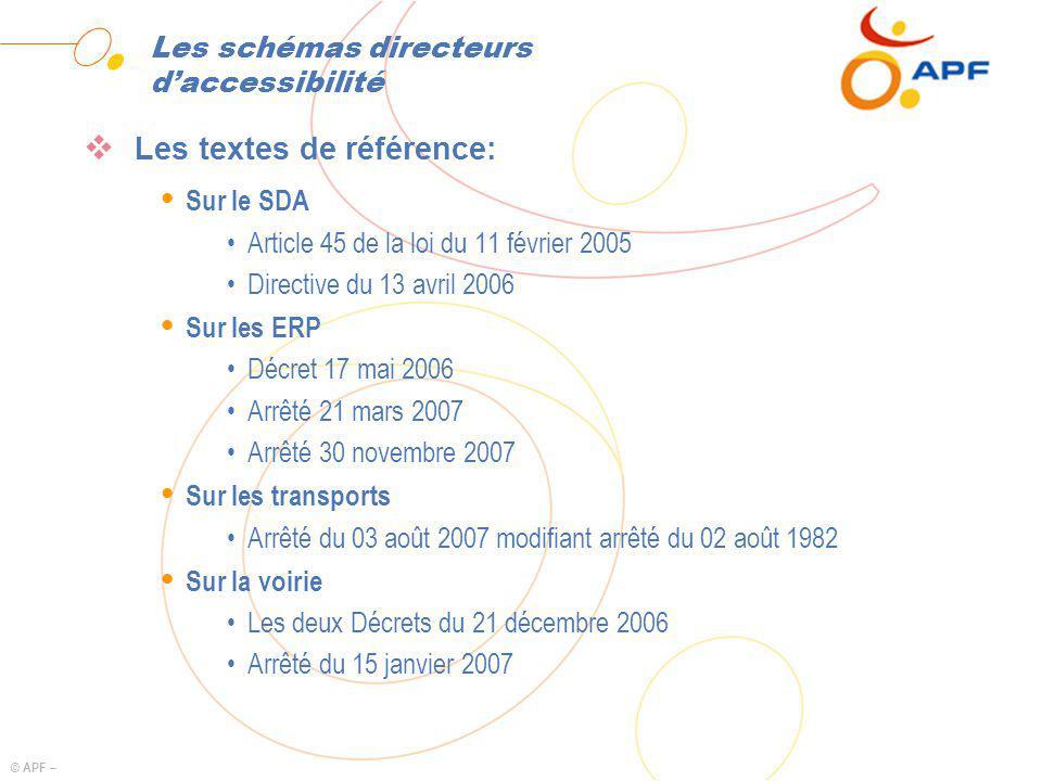 © APF – Les schémas directeurs daccessibilité Les textes de référence: Ÿ Sur le SDA Article 45 de la loi du 11 février 2005 Directive du 13 avril 2006