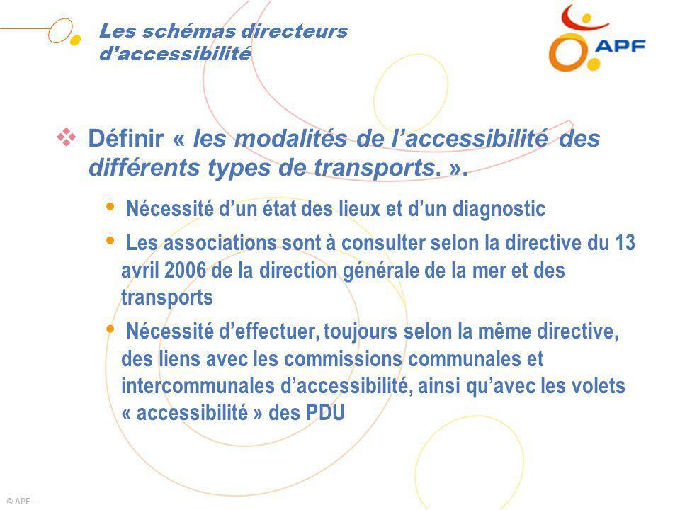 © APF – Les schémas directeurs daccessibilité Définir « les modalités de laccessibilité des différents types de transports. ». Ÿ Nécessité dun état de