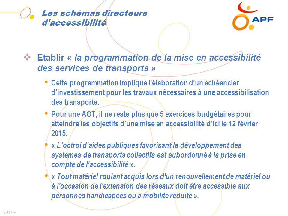 © APF – Les schémas directeurs daccessibilité Etablir « la programmation de la mise en accessibilité des services de transports » Ÿ Cette programmation implique lélaboration dun échéancier dinvestissement pour les travaux nécessaires à une accessibilisation des transports.