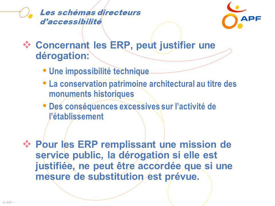 © APF – Les schémas directeurs daccessibilité Concernant les ERP, peut justifier une dérogation: Ÿ Une impossibilité technique Ÿ La conservation patri
