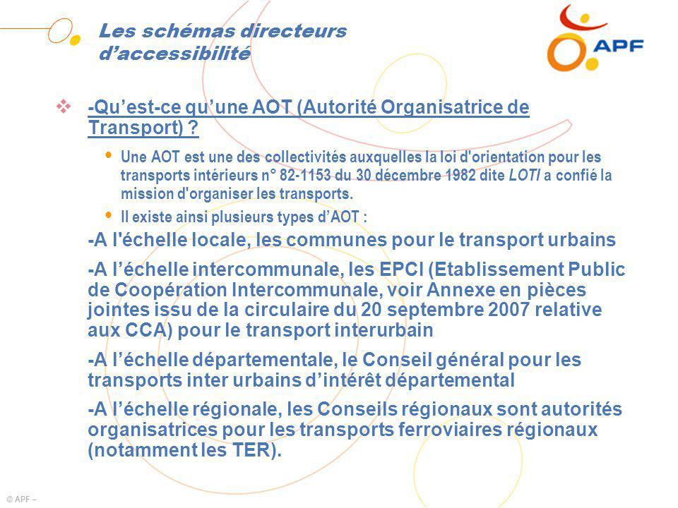 © APF – Les schémas directeurs daccessibilité -Quest-ce quune AOT (Autorité Organisatrice de Transport) ? Ÿ Une AOT est une des collectivités auxquell