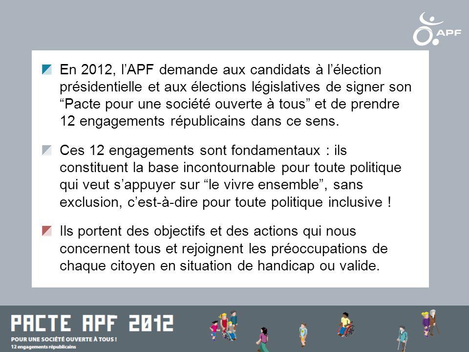 Le site de lAPF : www.apf.asso.frwww.apf.asso.fr Le blog politique de lAPF : www.reflexe-handicap.orgwww.reflexe-handicap.org Le blog juridique : vos-droits.apf.asso.fr Le blog de laccessibilité universelle : accessibilite-universelle.apf.asso.fr Le blog du magazine Faire Face : www.faire-face.frwww.faire-face.fr LAPF sur Facebook : www.facebook.com/associationdesparalysesdefrancewww.facebook.com/associationdesparalysesdefrance LAPF sur Twitter : www.twitter.com/apfhandicapwww.twitter.com/apfhandicap LAssociation des Paralysés de France (APF) sur internet