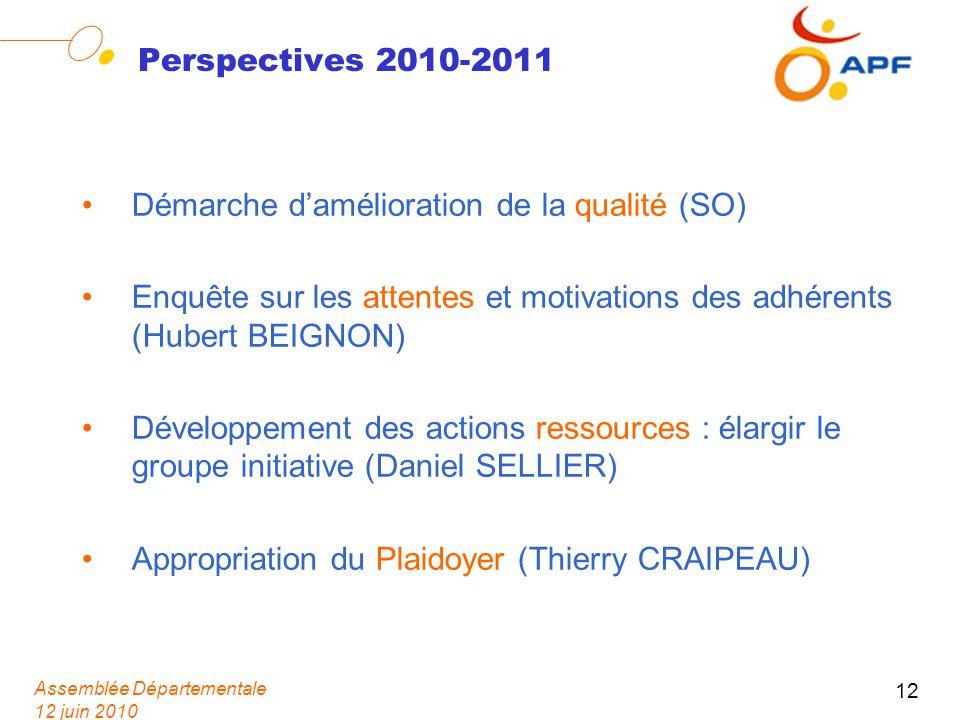 Assemblée Départementale 12 juin 2010 12 Perspectives 2010-2011 Démarche damélioration de la qualité (SO) Enquête sur les attentes et motivations des