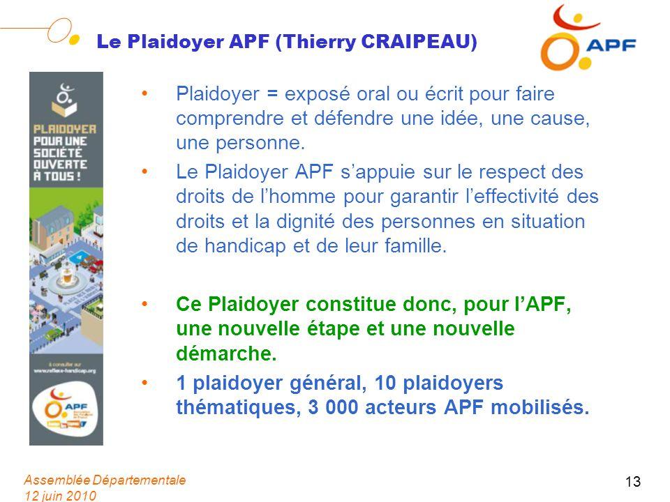 Assemblée Départementale 12 juin 2010 13 Le Plaidoyer APF (Thierry CRAIPEAU) Plaidoyer = exposé oral ou écrit pour faire comprendre et défendre une idée, une cause, une personne.