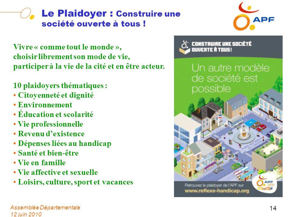 Assemblée Départementale 12 juin 2010 14 Le Plaidoyer : Construire une société ouverte à tous ! Vivre « comme tout le monde », choisir librement son m
