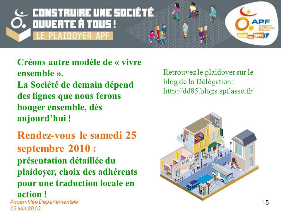 Assemblée Départementale 12 juin 2010 15 Créons autre modèle de « vivre ensemble ». La Société de demain dépend des lignes que nous ferons bouger ense