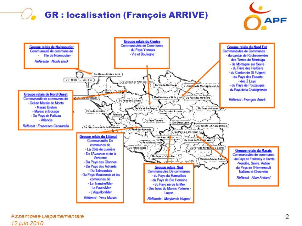 Assemblée Départementale 12 juin 2010 3 GR Missions (Thierry CRAIPEAU) Un réseau pour une proximité renforcée, et une déclinaison locale dactions en lien avec le projet associatif et le Plan dActions Départementales.