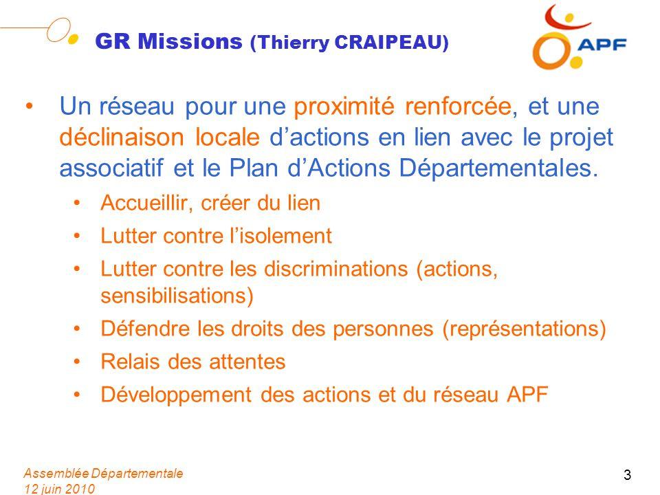 Assemblée Départementale 12 juin 2010 3 GR Missions (Thierry CRAIPEAU) Un réseau pour une proximité renforcée, et une déclinaison locale dactions en l