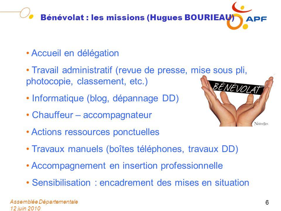 Assemblée Départementale 12 juin 2010 6 Bénévolat : les missions (Hugues BOURIEAU) Accueil en délégation Travail administratif (revue de presse, mise