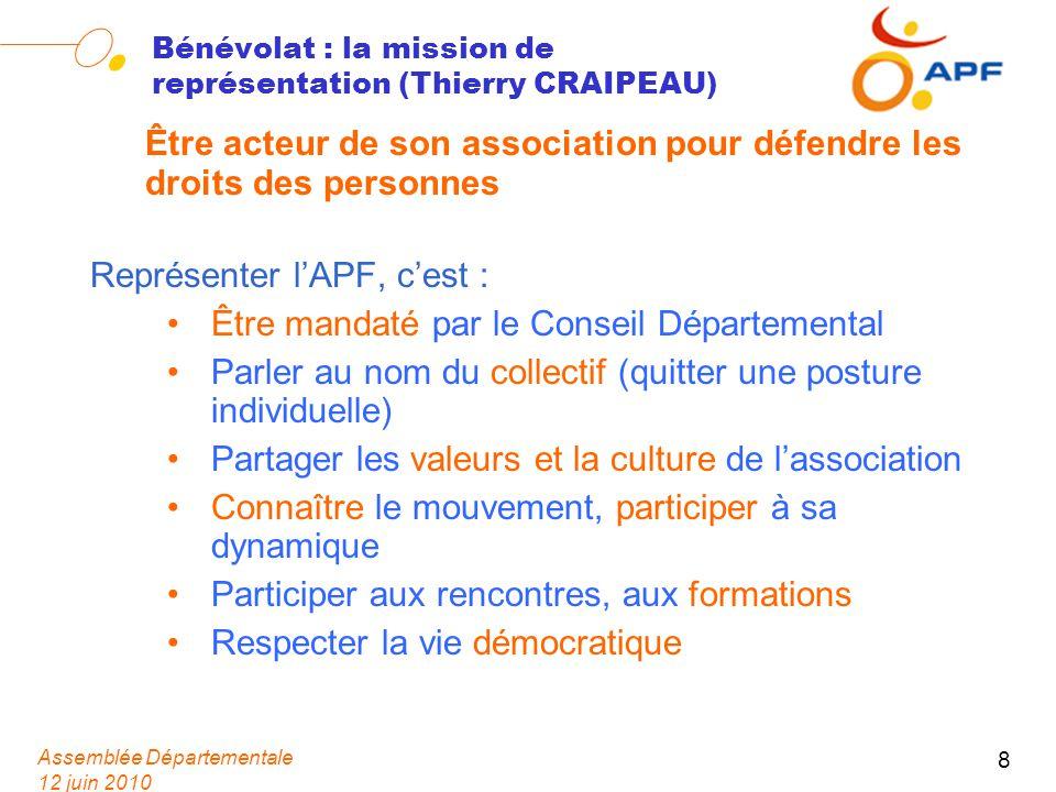 Assemblée Départementale 12 juin 2010 8 Bénévolat : la mission de représentation (Thierry CRAIPEAU) Être acteur de son association pour défendre les d