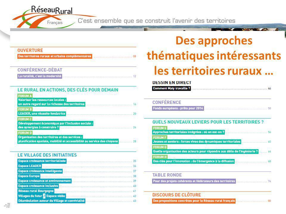 10 Des approches thématiques intéressants les territoires ruraux …
