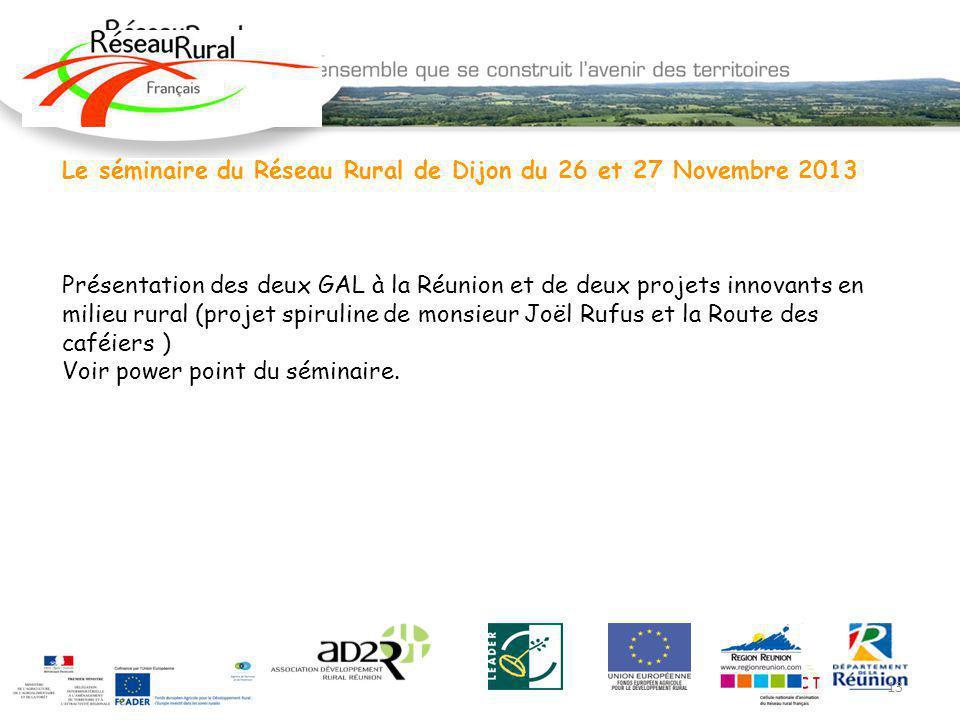 Le séminaire du Réseau Rural de Dijon du 26 et 27 Novembre 2013 Présentation des deux GAL à la Réunion et de deux projets innovants en milieu rural (p