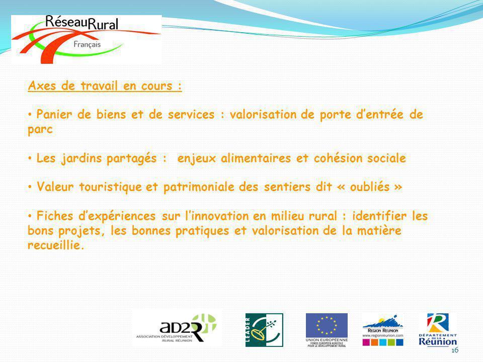 Axes de travail en cours : Panier de biens et de services : valorisation de porte dentrée de parc Les jardins partagés : enjeux alimentaires et cohési