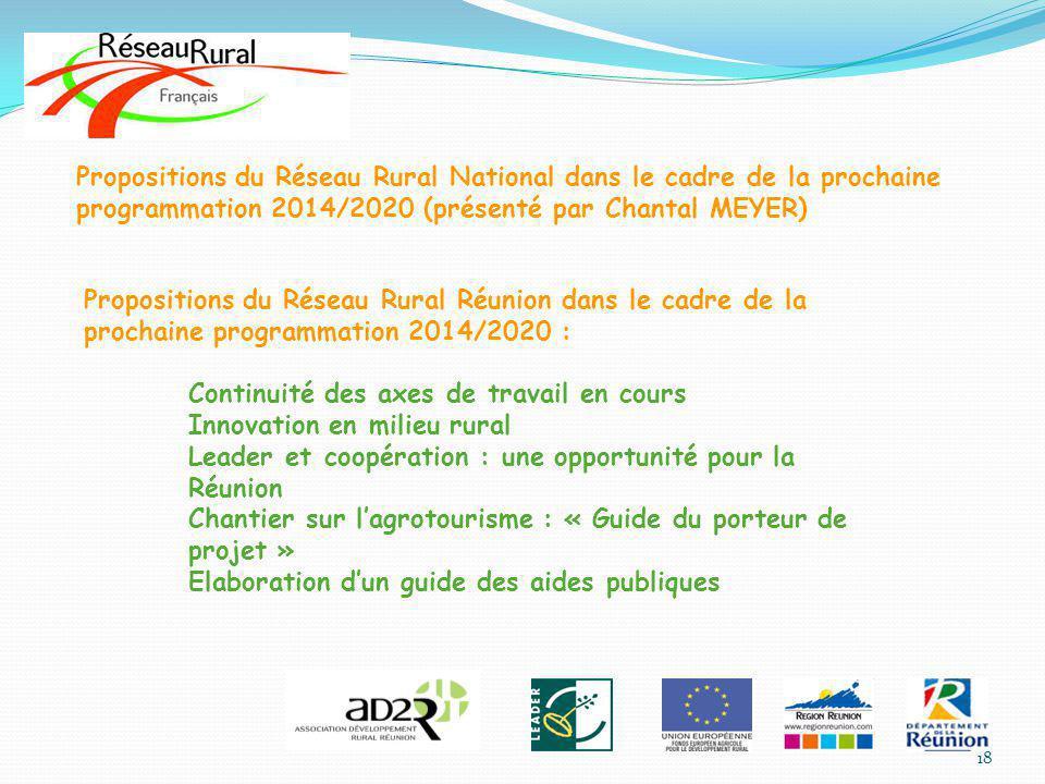 Propositions du Réseau Rural National dans le cadre de la prochaine programmation 2014/2020 (présenté par Chantal MEYER) Propositions du Réseau Rural