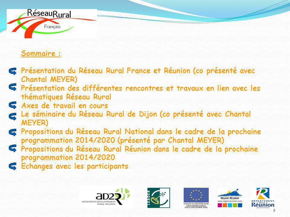 Sommaire : Présentation du Réseau Rural France et Réunion (co présenté avec Chantal MEYER) Présentation des différentes rencontres et travaux en lien