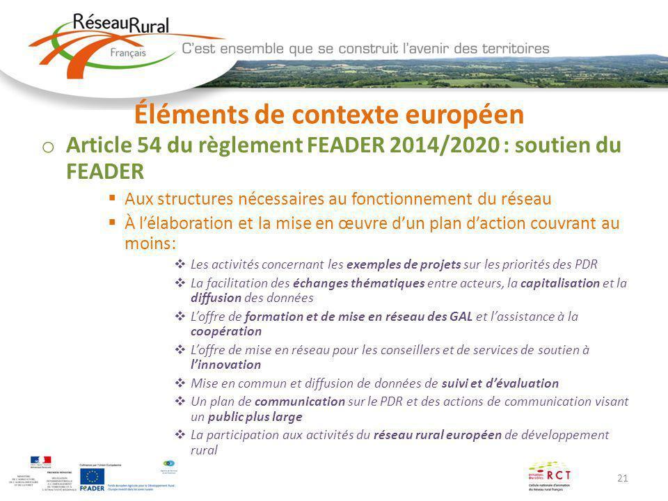 21 Éléments de contexte européen o Article 54 du règlement FEADER 2014/2020 : soutien du FEADER Aux structures nécessaires au fonctionnement du réseau