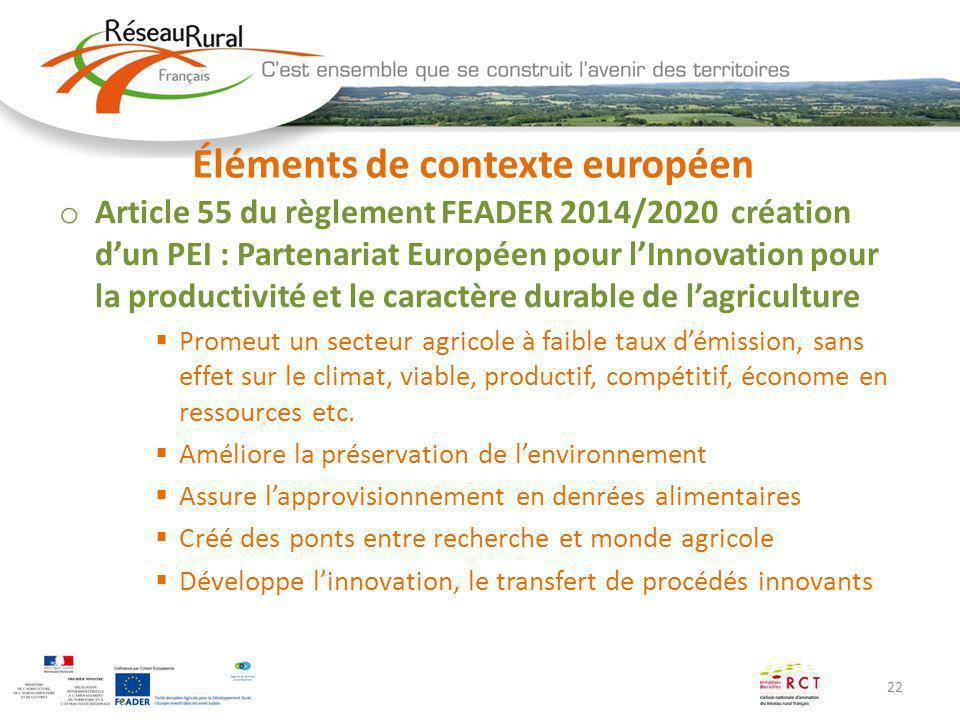 22 Éléments de contexte européen o Article 55 du règlement FEADER 2014/2020 création dun PEI : Partenariat Européen pour lInnovation pour la productiv