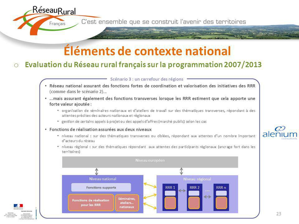 23 Éléments de contexte national o Evaluation du Réseau rural français sur la programmation 2007/2013