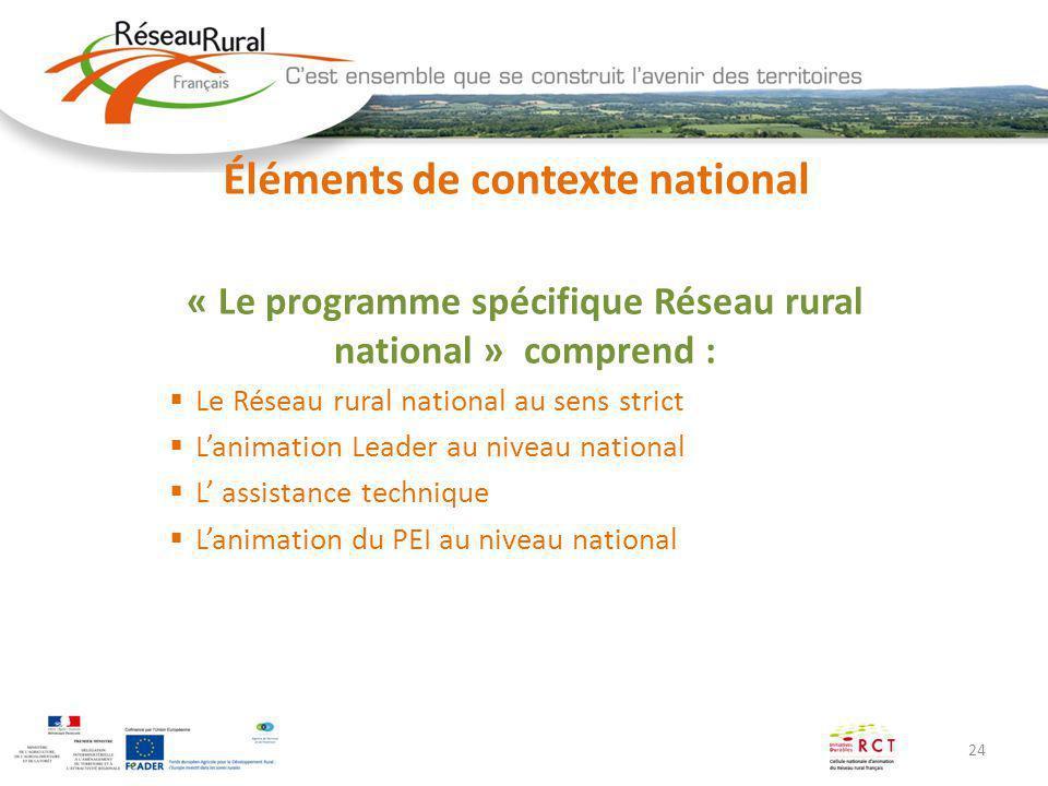 24 Éléments de contexte national « Le programme spécifique Réseau rural national » comprend : Le Réseau rural national au sens strict Lanimation Leade