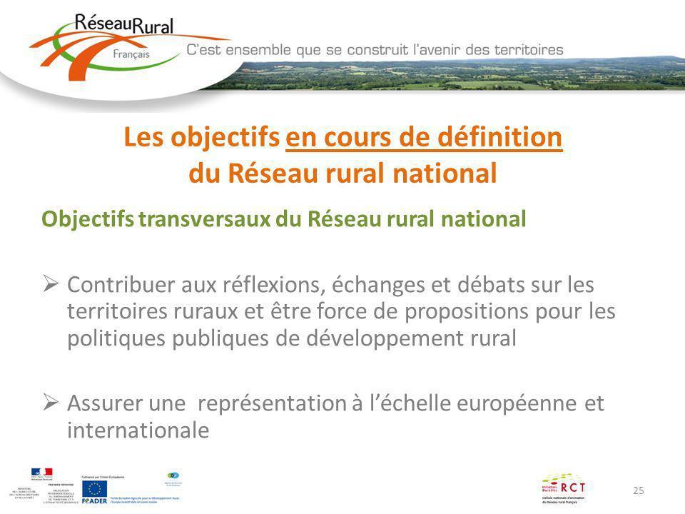 25 Les objectifs en cours de définition du Réseau rural national Objectifs transversaux du Réseau rural national Contribuer aux réflexions, échanges e